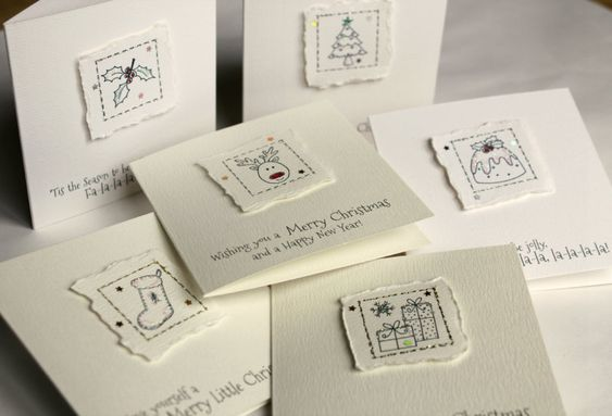 Pack of 6 MINI Handmade Christmas Cards with Envelopes by peppermintfizz on Etsy