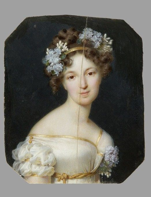 1822.Frédéric Millet. Miniature of Elizabeth Vorontsova née Branicka (1792-1880). 1946: Переданы в Национальный музей в Варшаве из коллекции Потоцких, Кжешовицах ( Krzeszowice) National Museum in Warsaw: