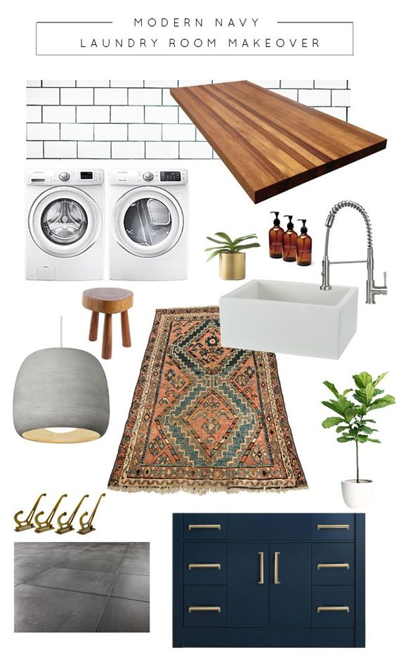 Modern Navy Laundry Room Makeover