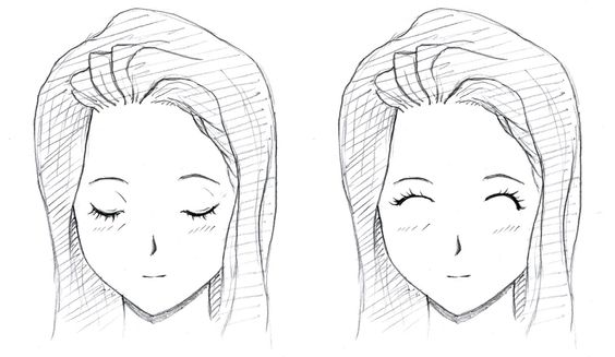 how to draw closed eyes easy