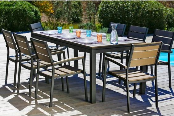 salon de jardin cdiscount achat pas cher ensemble table extensible de jardin 8 fauteuils prix. Black Bedroom Furniture Sets. Home Design Ideas