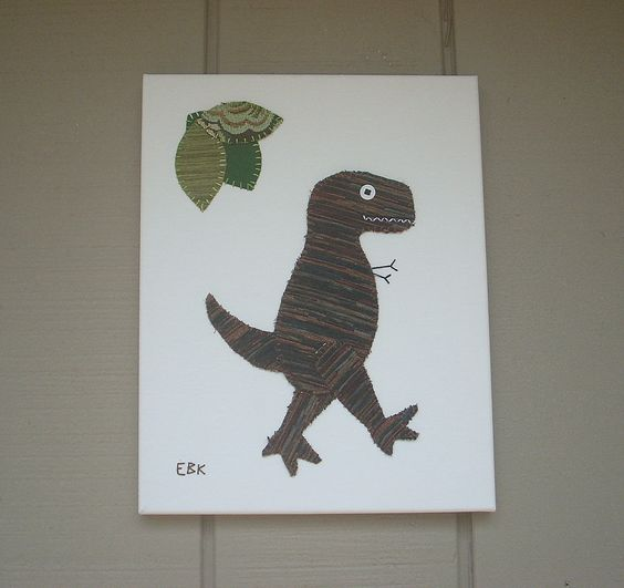 T-Rex #5 Fabric Wall Art by CottonwoodCove on Etsy