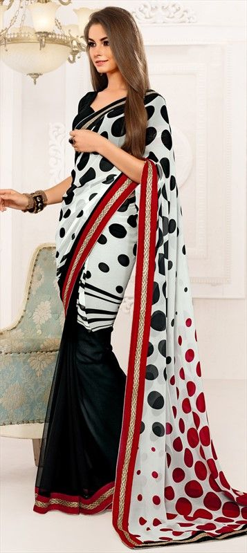 145503: #Circles #prints #saree #monochrome #geometry #onlineshopping #sale.: