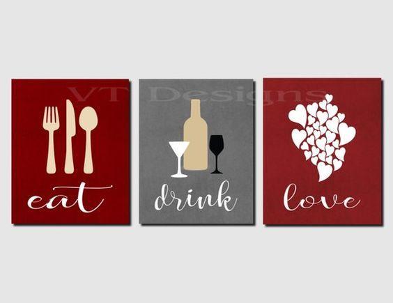 Eat Drink Love Kitchen Decor Dining Room Decor Red Gray Etsy Kitchen Wall Art Kitchen Wall Decor Wine Wall Art
