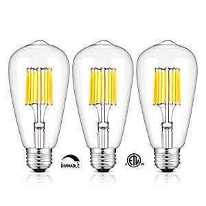 Omaykey 10w 5000k Dimmable Led Edison Bulb Daylight White Glow 100w Equivalent 1000lm E26 Medium Base Filament Bulb Lighting Dimmable Led Edison Bulb