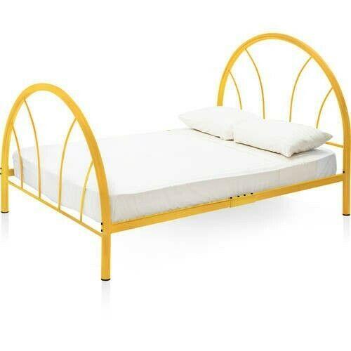 Details About Full Metal Bed Orange Bedframe Headboard Footboard