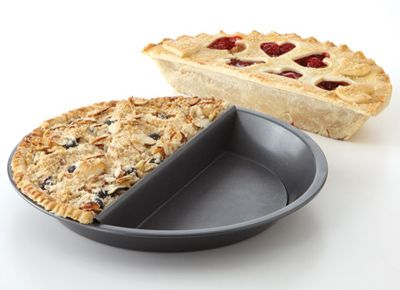 OMG - a pie pan that allows you to bake to  different pies in one pan.