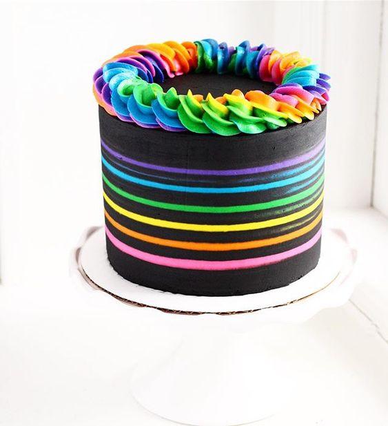 I love this Lisa Frank colors inspired rainbow black cake