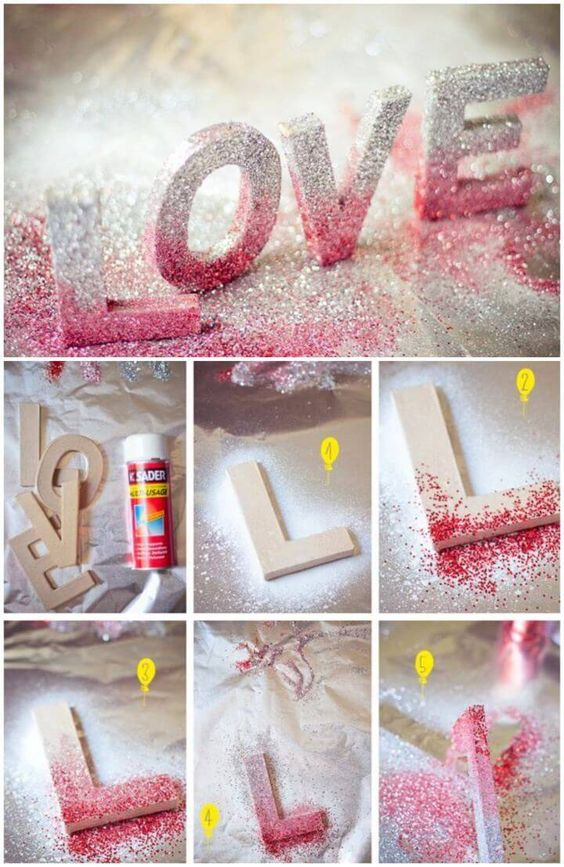Create Your Own Glitter Love letters: 50 DIY Easy Glitter Ideas For Crafts Lovers - Creative DIYs