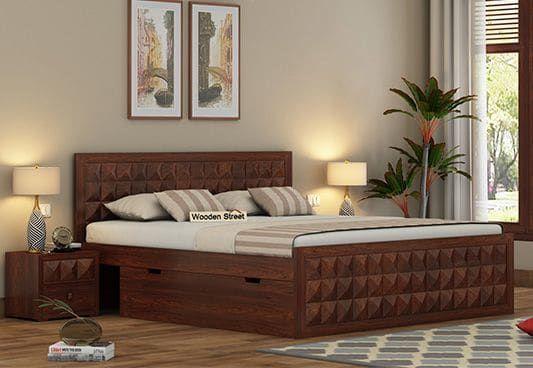 Morse Bed With Storage King Size Walnut Finish Wooden King
