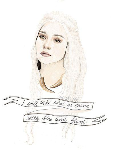 Daenerys Targaryen watercolour portrait PRINT Game of Thrones by ohgoshCindy