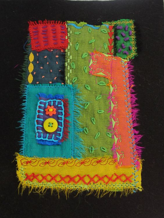 5x7. Abstract silk embroidered wall art quilt