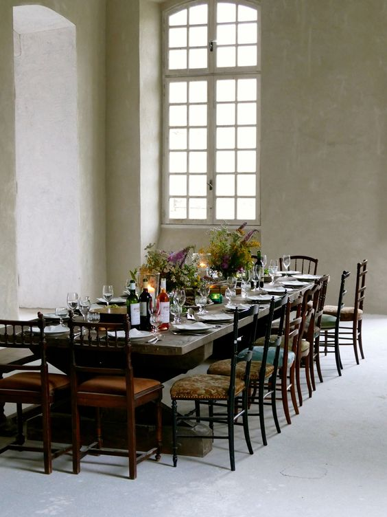 Serene dining room at magnificent French chateau. South of France Fixer Upper Château Gudanes. #southoffrance #frenchchateau #provence #frenchcountry #renovation