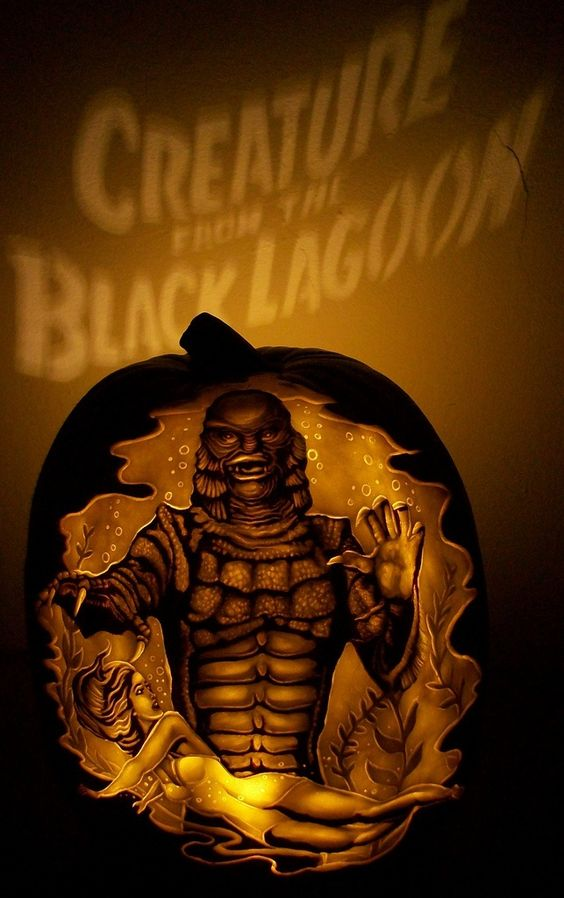 Creature from the black lagoon pumpkin carving made by dan
