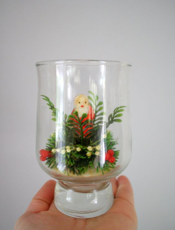 Vintage 60s 70s Miniature Santa in A Glass Jar by oldgrowth, $8.00
