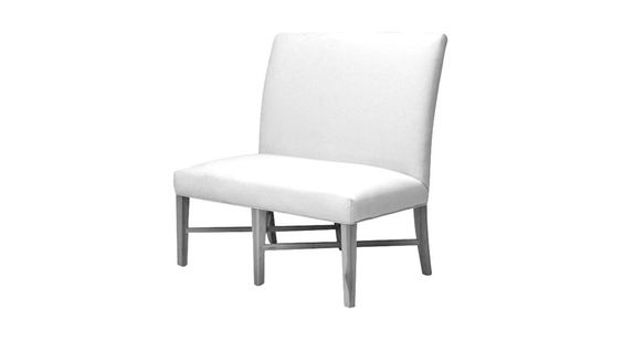 A versatile and fabric-friendly with a fully upholstered seat and back. Slender, tapered legs with an X-shape stretcher add allure in any of our painted or stained finishes.