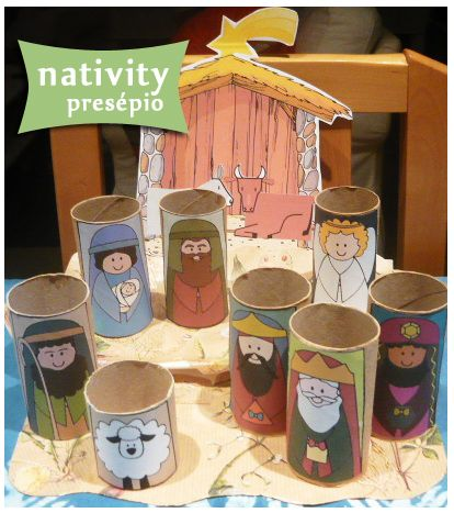 Nativity - cereal box and toilet paper rolls.  I DID IT MYSELF!: