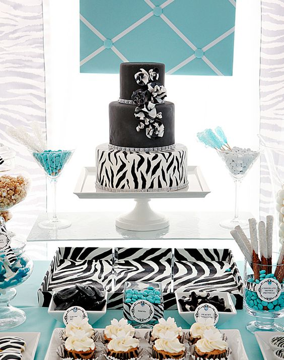 Sweet Combo: Bold Zebra & Tiffany Blue #birthday #party #candy #theme #dessert  #decoration #buffet #zebra #blue #black #white #tiffanys #tiffany
