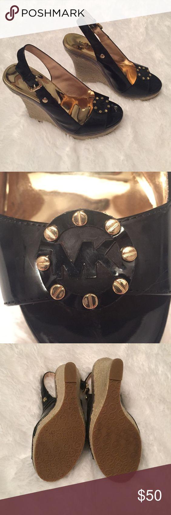 Black mk sandals - Michael Kors Wedge Sandals Black Patent Wedge Sandals Mk Logo Across Top Of Foot