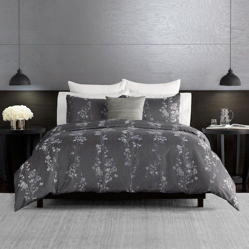 Simply Vera Vera Wang Dark Linear Floral 3 Piece Comforter And