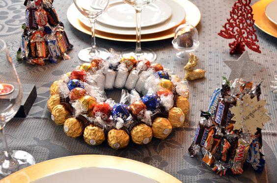 Centre de table et marque-places en chocolat Pyrénéens, Lindor, Célébrations ou Ferrero Rocher, DIY super facile, qui fera son effet sur vos tables de fête.