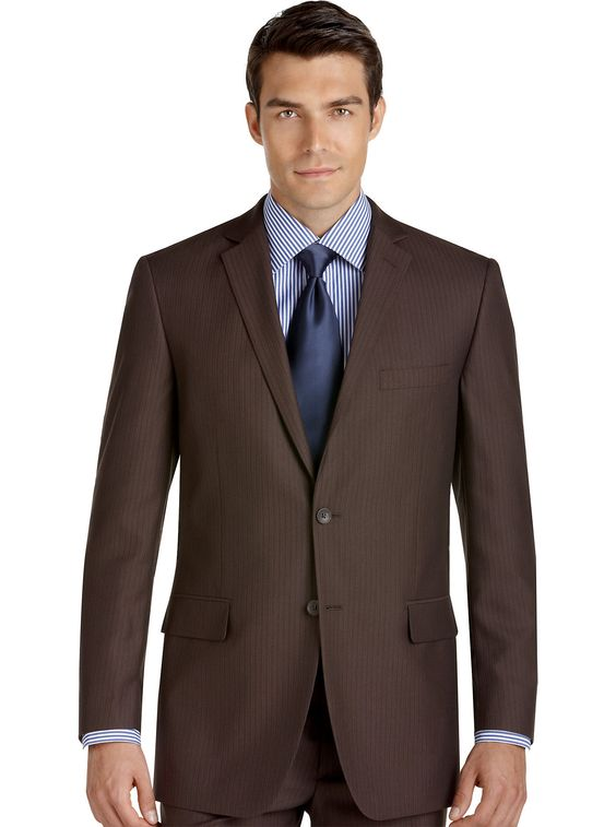 Suits & Suit Separates - Perry Ellis Portfolio Brown Stripe Slim