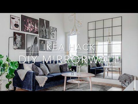 Ikea Hack Diy Industrial Mirror Wall Under 50 Youtube Wall Mirror Decor Living Room Industrial Mirrors Ikea Mirror