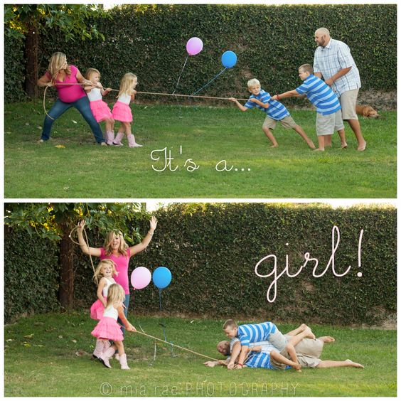 Gender reveal idea: Family tug-of-war photo card this would be so perfect for us if we ever have anymore because of our already even number!!