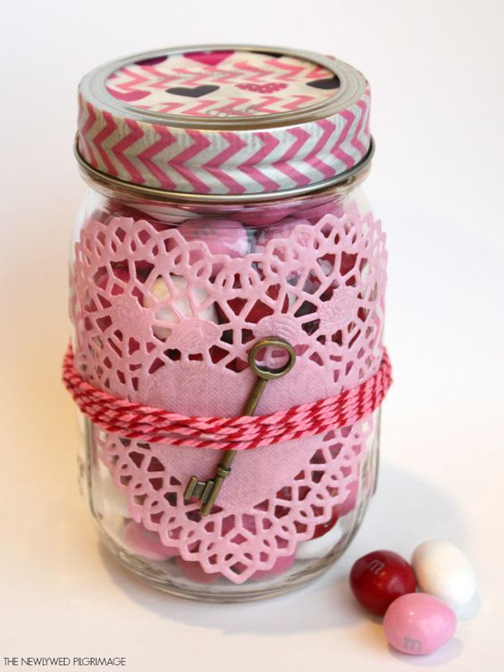 Give him the key to your heart with this handmade Valentine's Day mason jar craft!