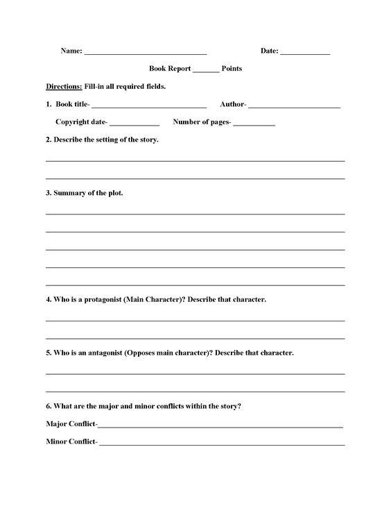 High School Book Report Worksheets – High School Grammar Worksheets