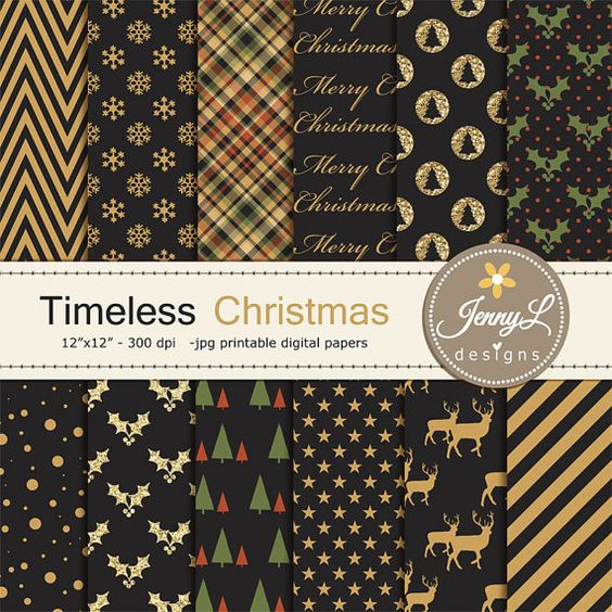 Christmas Digital Papers Black and Gold by JennyLDesignsShop