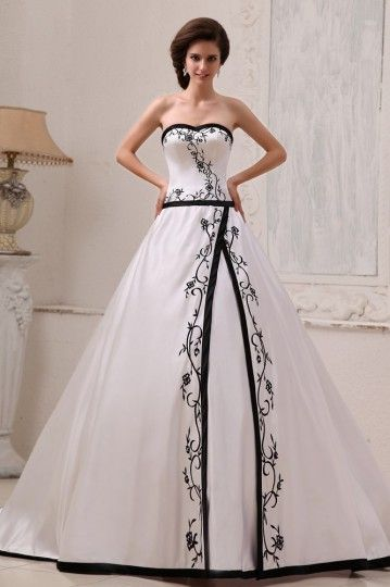Satin Embroidery Sweetheart Court A-Line Bridal Gown Wedding Dresses [WBCD1693]- US$ 246.48 - PersunDresses.com