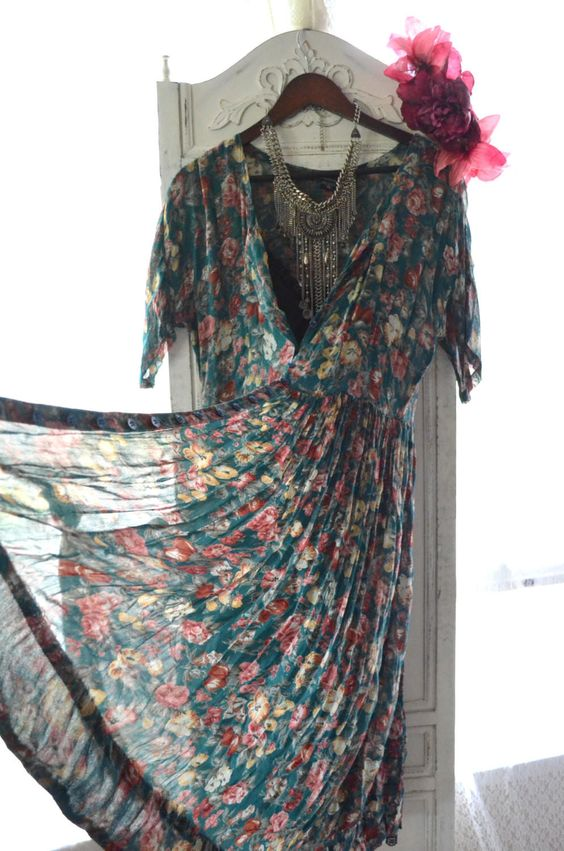 Vintage grunge maxi dress, Music festival kimono dress, Vintage floral dresses, Retro 90's dress, True rebel clothing, Women's vintage: