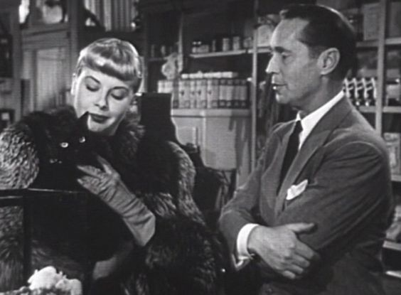 Barbara Whitfield (Jean Wallace) gets Howard Malloy (Franchot Tone) to buy her a long-haired black cat named Bennie (short for Benvenuto) in the noir thriller Jigsaw (1949).