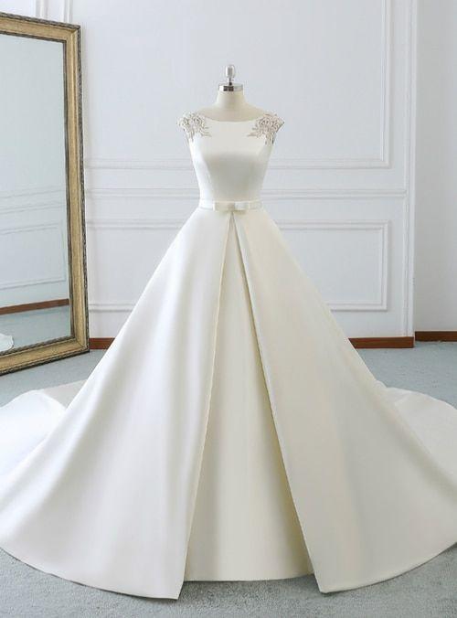 White Satin Cap Sleeve Backless Wedding Dress With Pearls Backless Wedding Dress Ball Gowns Wedding Wedding Dresses Satin