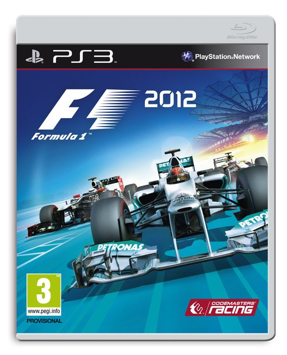 Official PS3 packshot of F1 2012, featuring Mercedes, Lotus-Renault, and HRT.