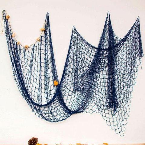 Mediterranean Cotton Shell Fishing Net Decoration Fish Net Decor Fishnet Nautical Blue