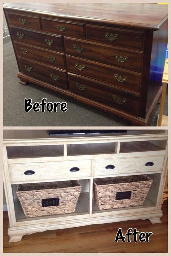 An old dresser into a TV stand! Description from pinterest.com. I searched for this on bing.com/images