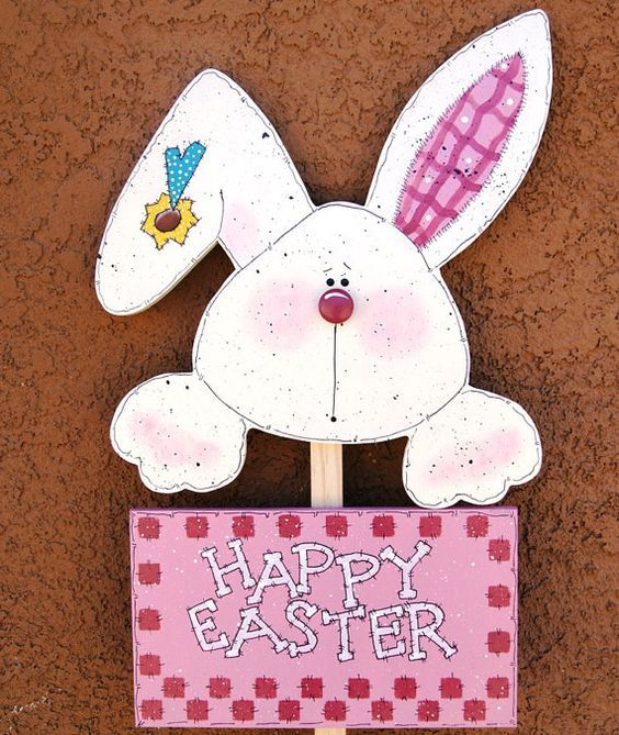 Happy Easter Bunny Yard Stick - Wood Easter Decoration - Yard Sign Decor - Holiday Deocration