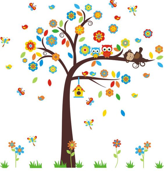 This decal layout has a beautiful tree and leave combination.  https://www.etsy.com/listing/265048091/owl-and-monkey-wall-decal-woodland-wall?ref=shop_home_active_51 #treewalldecal