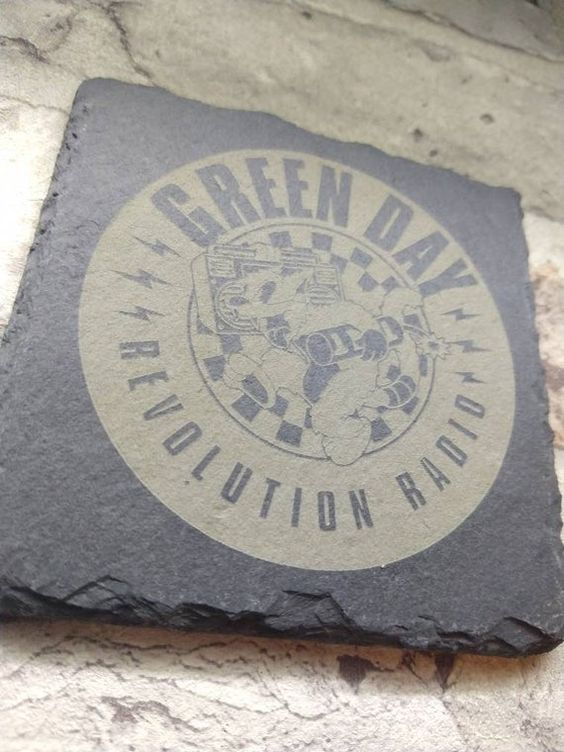 Green Day Band Slate Coasters Laser Engraved Gift Set Rock Metal Band Logo