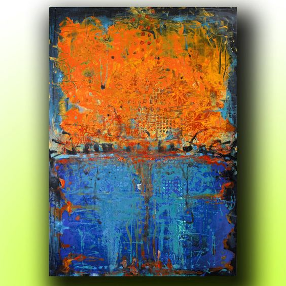 art painting abstract acrylic painting on canvas with texture blue orange abstract. Black Bedroom Furniture Sets. Home Design Ideas