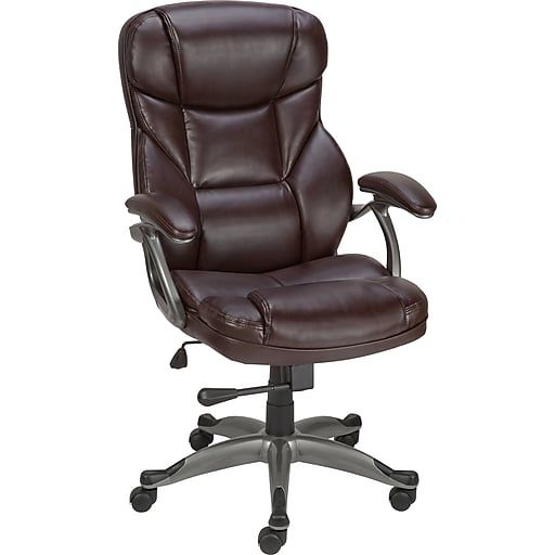 Staples Osgood Bonded Leather High Back Manager S Chair Brown At Staples Black Leather Office Chair Leather Office Chair Bonded Leather