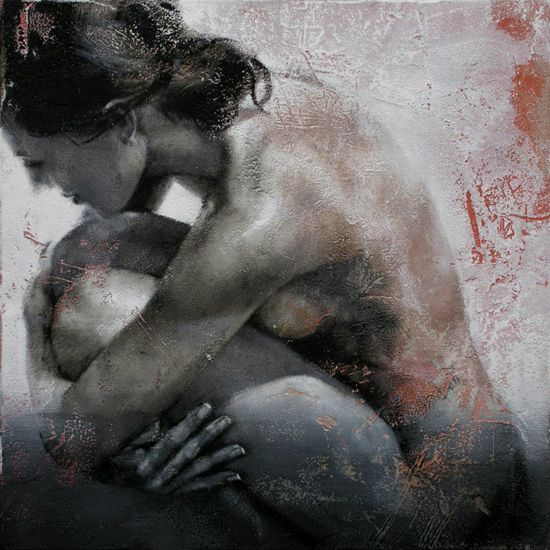 Artist: Pier Toffoletti {contemporary female discreet nude woman profile painting} Compressed!!