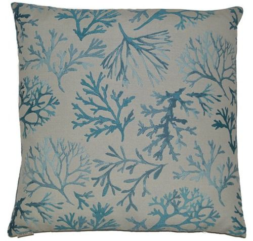 Introducing the Great Barrier Reef Coral coastal pillow. an enchanting cushion scattered with aqua coral branches across an off-white background.