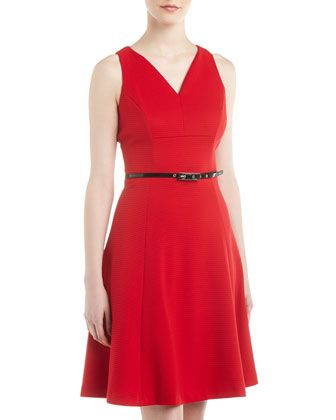 Ribbed+V-Neck+Belted+Dress,+Rouge+by+muse+at+Neiman+Marcus+Last+Call.