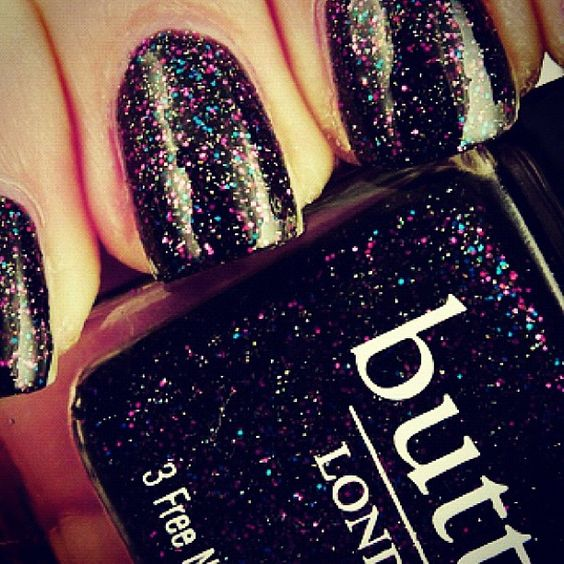 stylebrand's #nail #polish #glitter #blink #black Love this colour