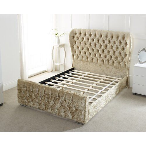 Abbey Upholstered Sleigh Bed Willa Arlo Interiors Size Kingsize