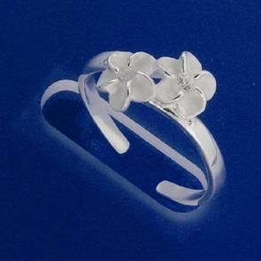 Hawaiian 2 Plumeria CZ Toe Ring 4mm
