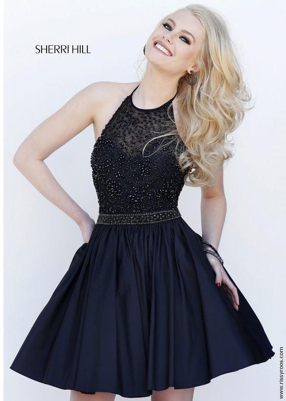 Sherri Hill 32322 Black Jeweled Halter Cocktail Dress - LBD ...